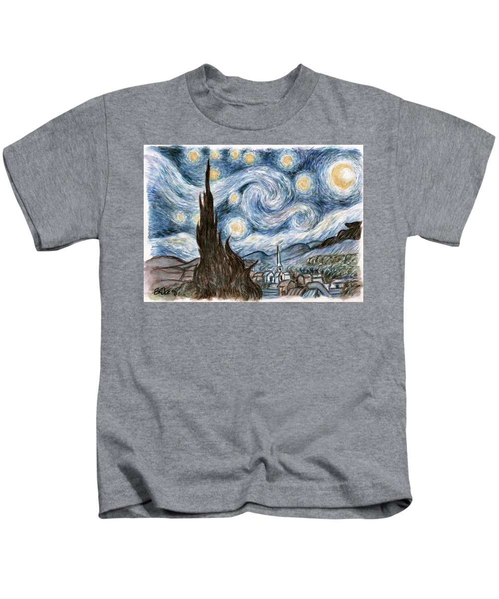 Bruce Lennon Art Stary Night Kids T-Shirt featuring the painting Cher's Stary Night by Bruce Lennon