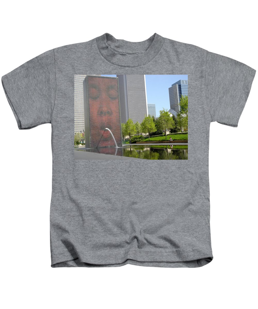 Chicago Kids T-Shirt featuring the photograph Chicago Crown Fountain 8 by Jean Macaluso