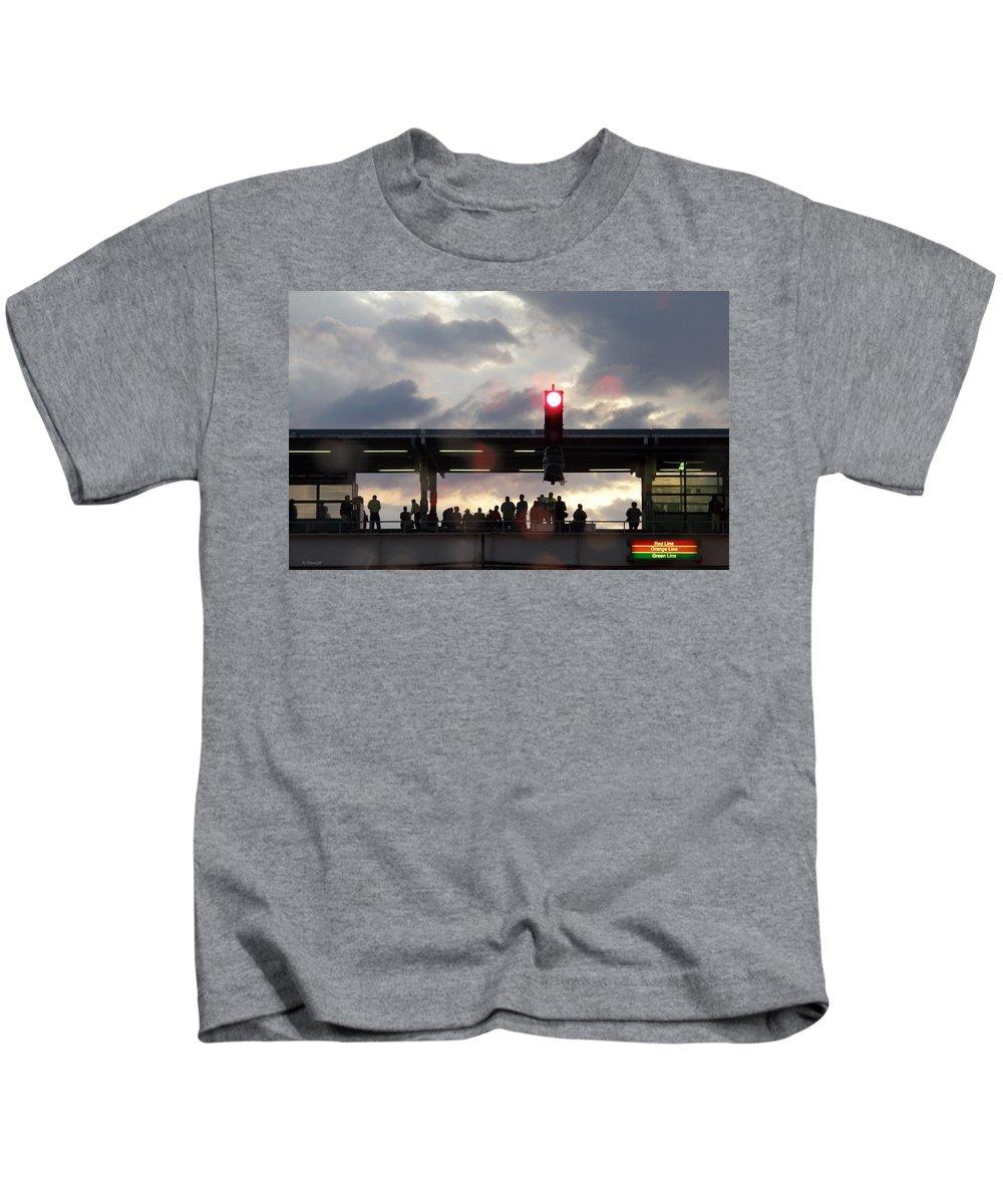 L Train Kids T-Shirt featuring the photograph Chicago L Train by Albert Stewart
