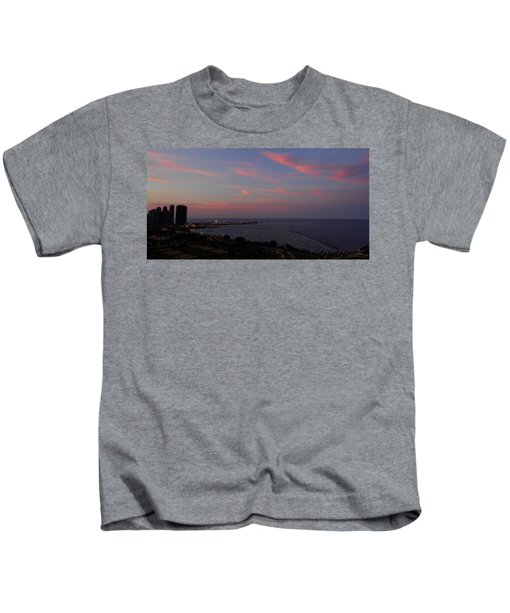 Chicago Kids T-Shirt featuring the photograph Chicago Lakefront At Sunset by Michael Bessler