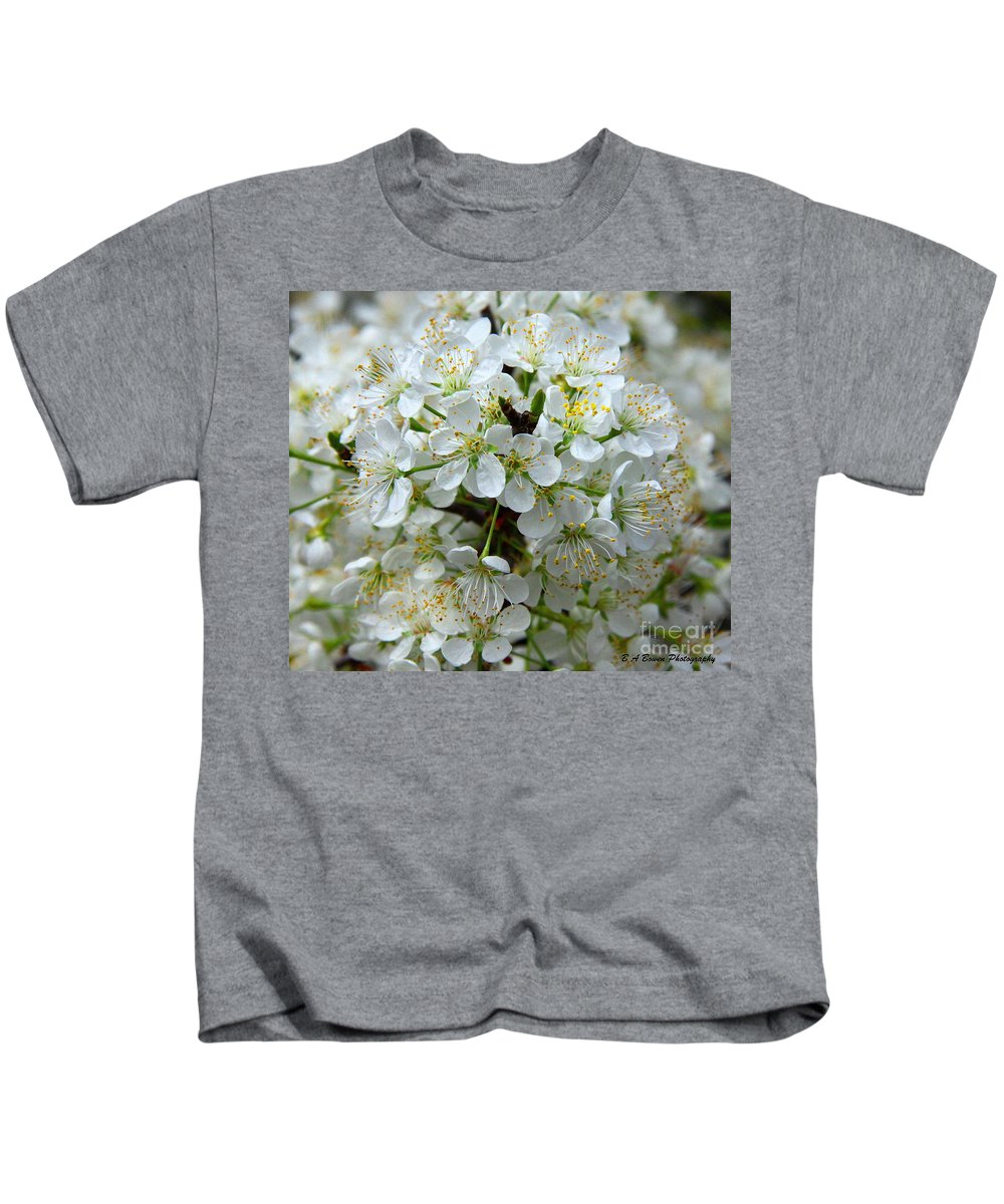 Chickasaw Plum Kids T-Shirt featuring the photograph Chickasaw Plum Blooms by Barbara Bowen