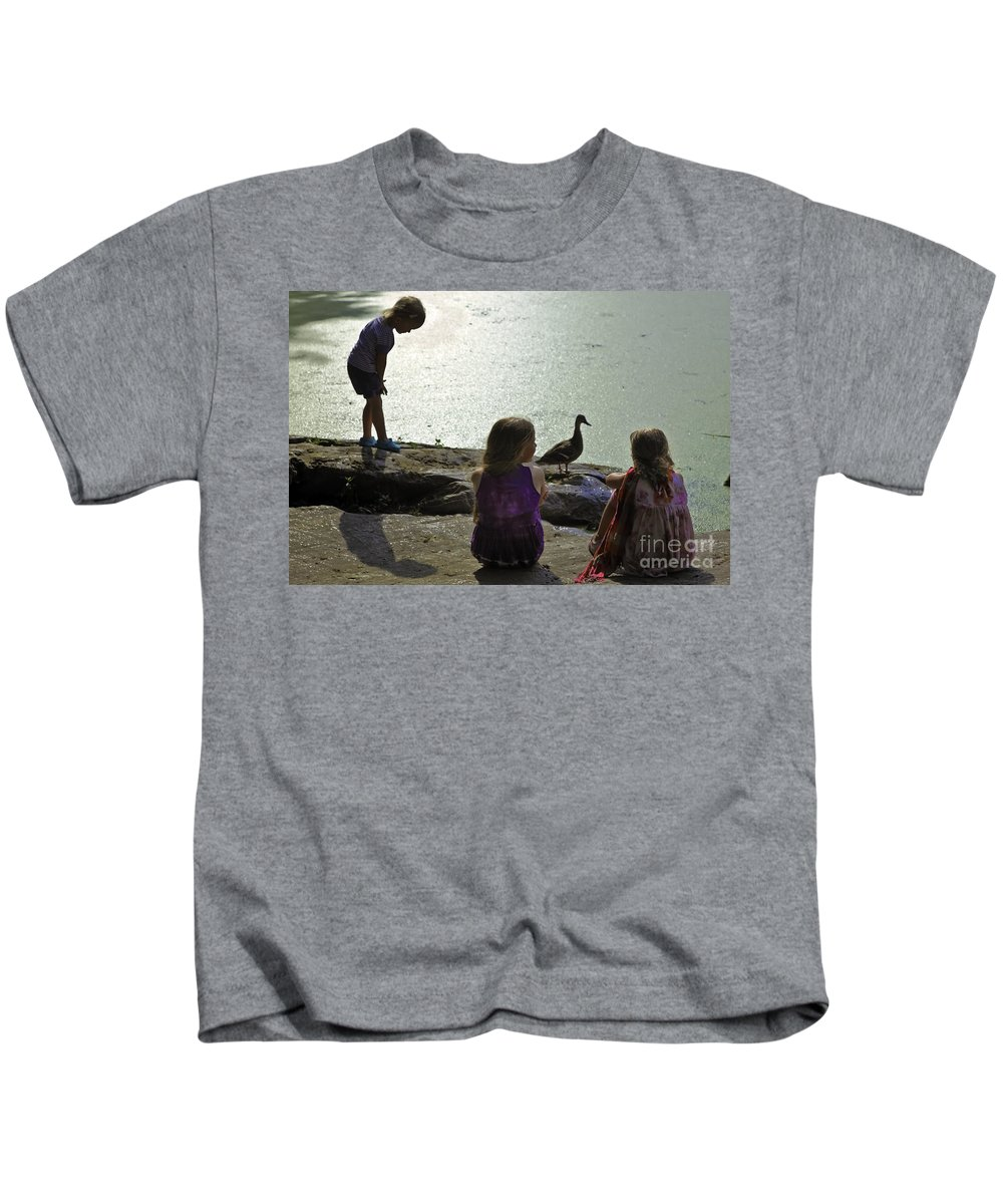 Children Kids T-Shirt featuring the photograph Children At The Pond 1 Version 2 by Madeline Ellis