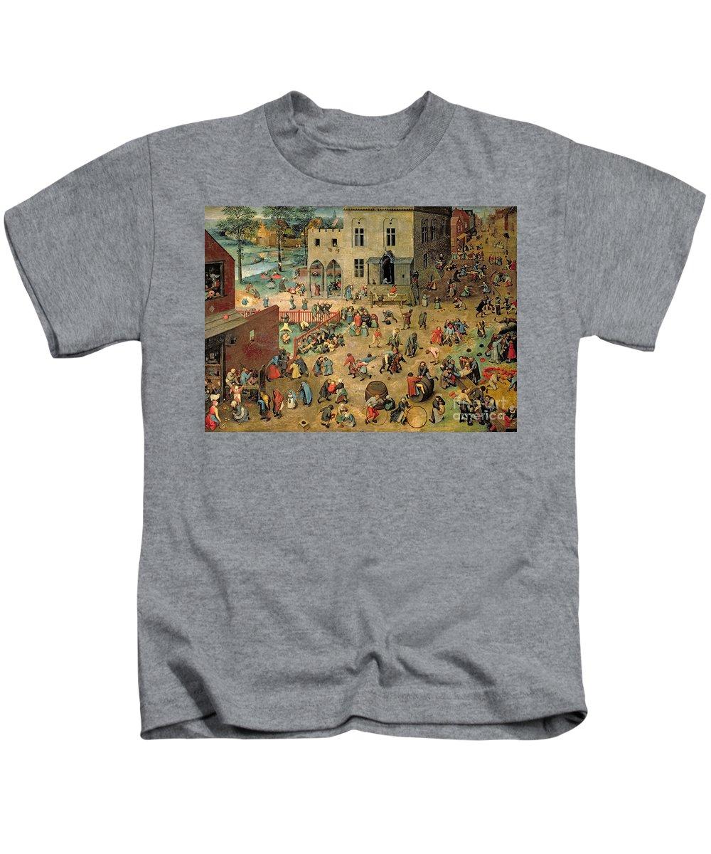 Xir68945 Kids T-Shirt featuring the painting Children's Games by Pieter the Elder Bruegel