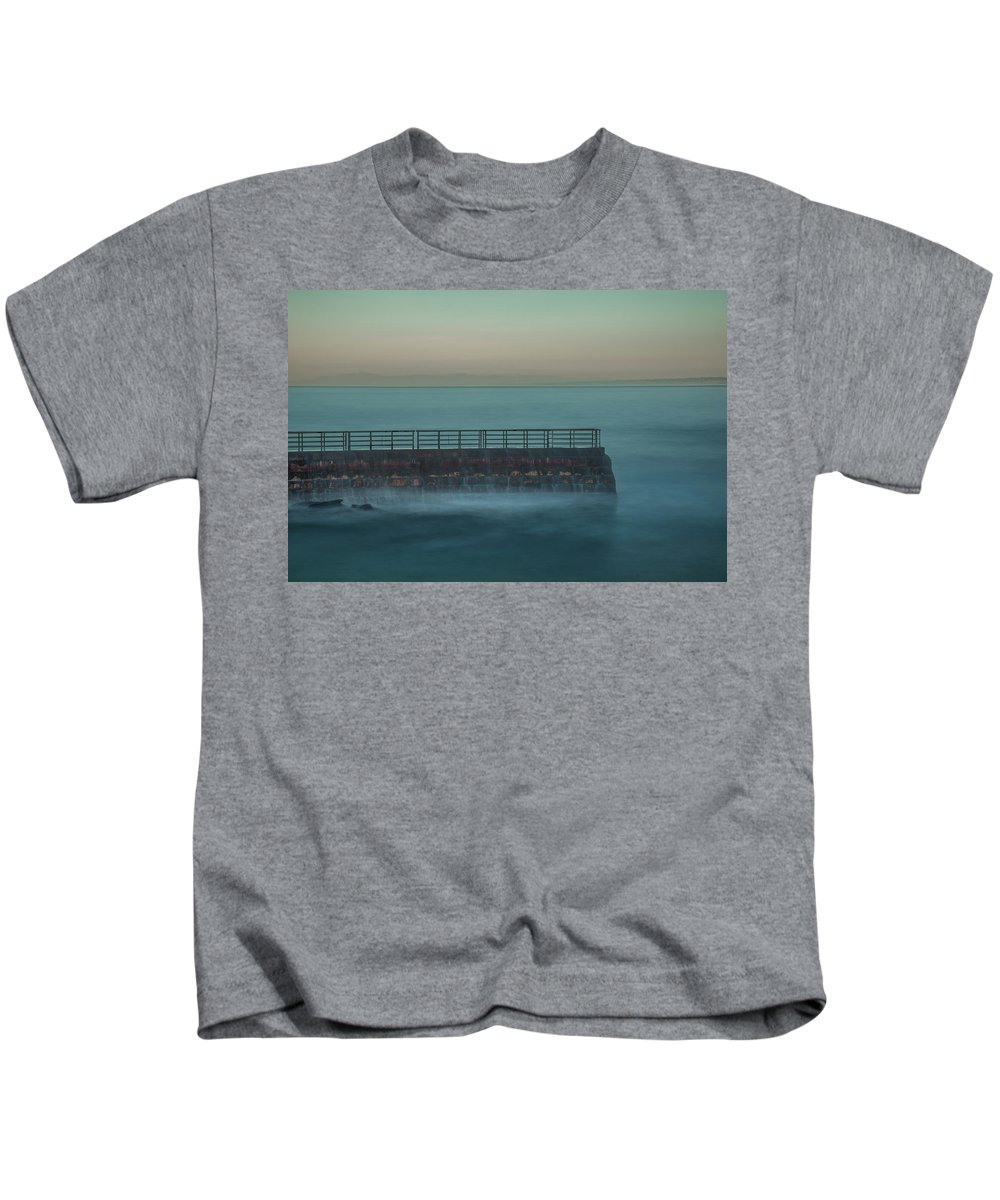 Children's Pool Kids T-Shirt featuring the photograph Children's Pool In The Mist by Thomas Morris