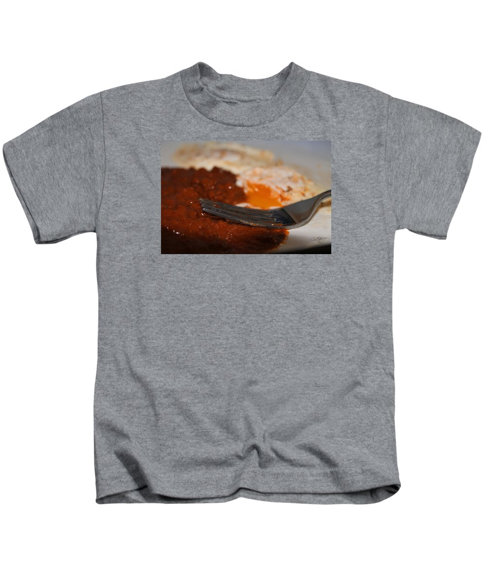 Food Kids T-Shirt featuring the photograph Chili Eggs by Dawn Whiteaker