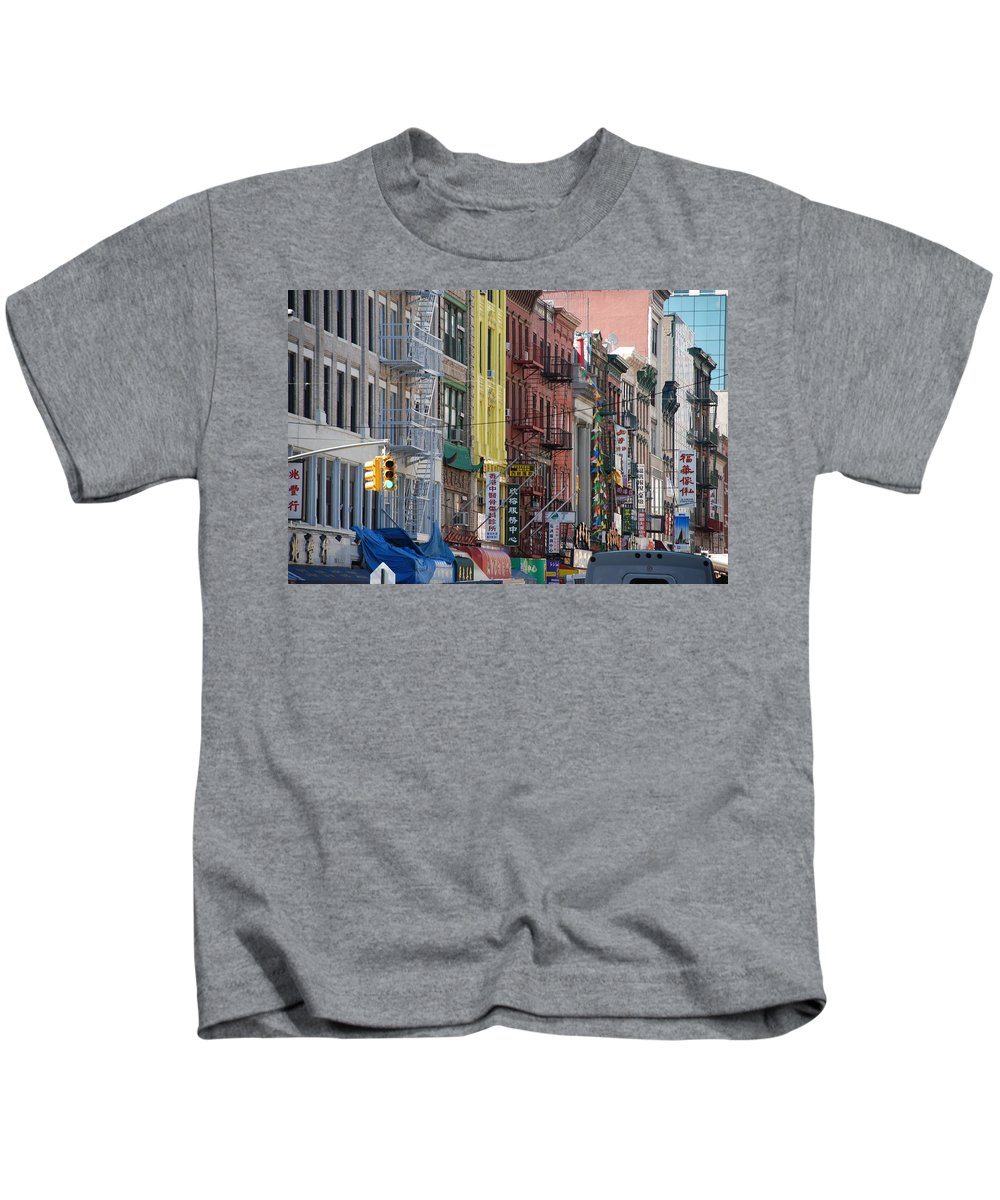 Architecture Kids T-Shirt featuring the photograph Chinatown Walk Ups by Rob Hans