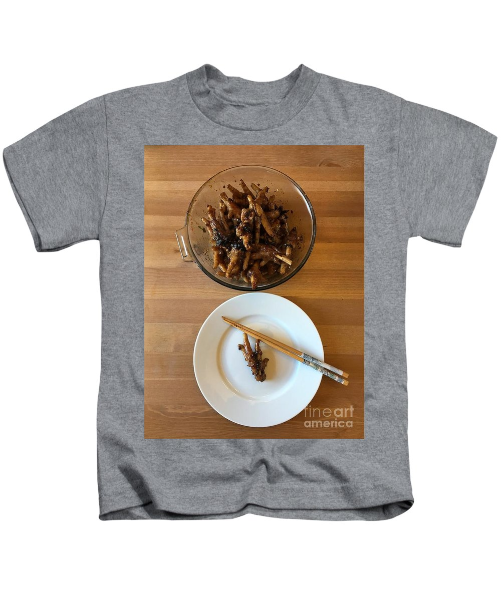 Chicken Kids T-Shirt featuring the photograph Chinese Spicy Chicken Feet by Henrik Lehnerer