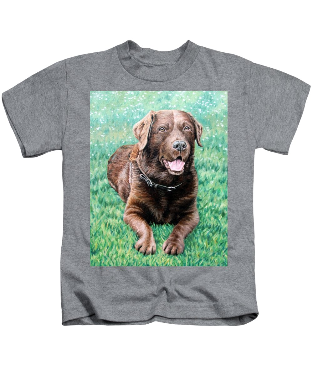 Dog Kids T-Shirt featuring the painting Choco Labrador by Nicole Zeug