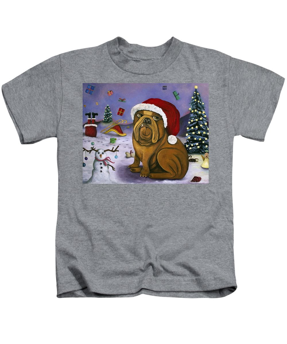 Santa Kids T-Shirt featuring the painting Christmas Crash by Leah Saulnier The Painting Maniac