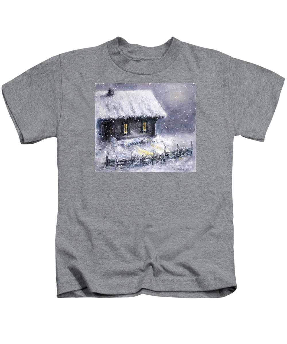 Landscape Kids T-Shirt featuring the painting Christmas Eve by Arturas Slapsys
