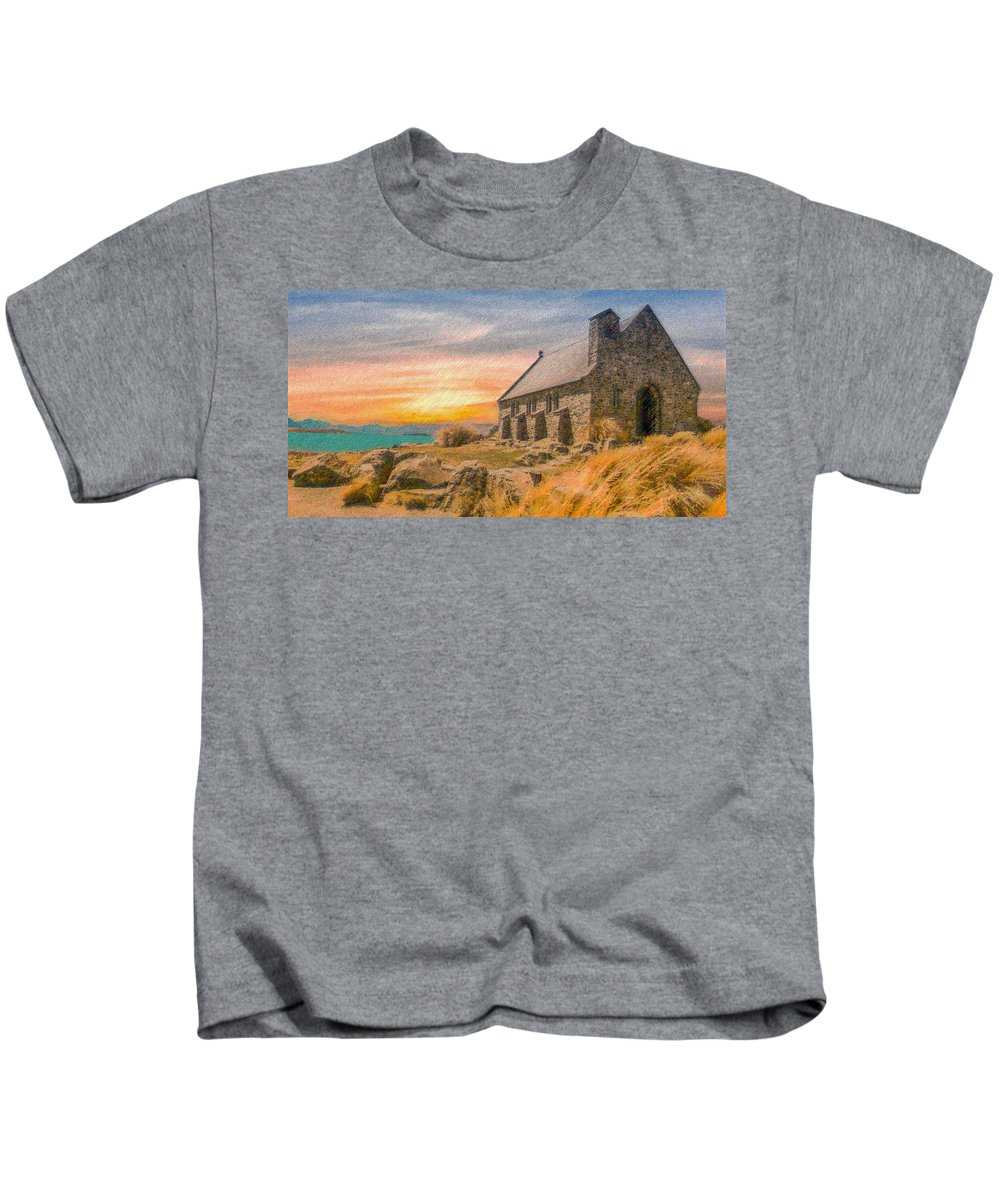 Church Kids T-Shirt featuring the digital art Church On The Hill by CR Beaumont