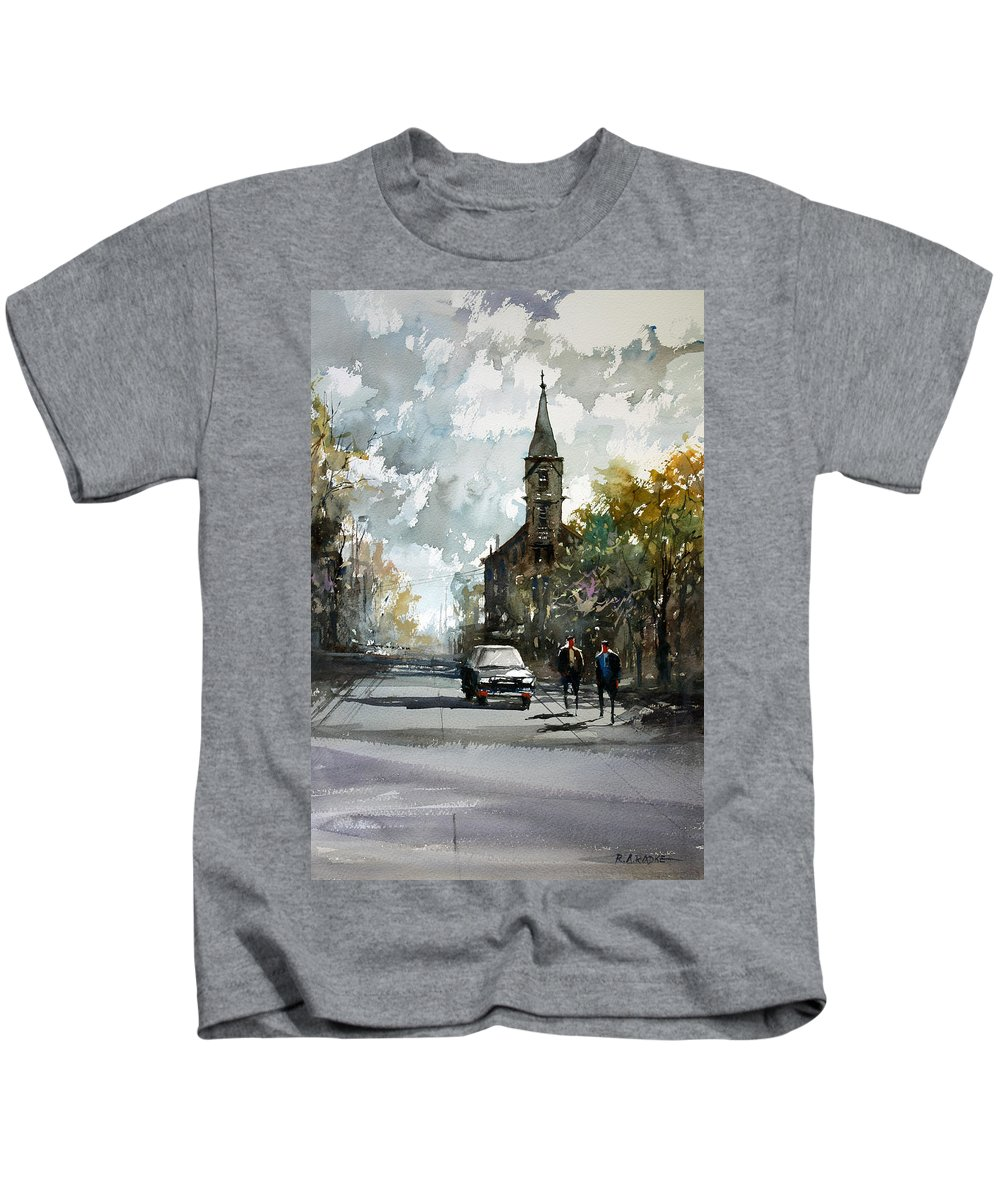 Street Scene Kids T-Shirt featuring the painting Church On The Hill by Ryan Radke