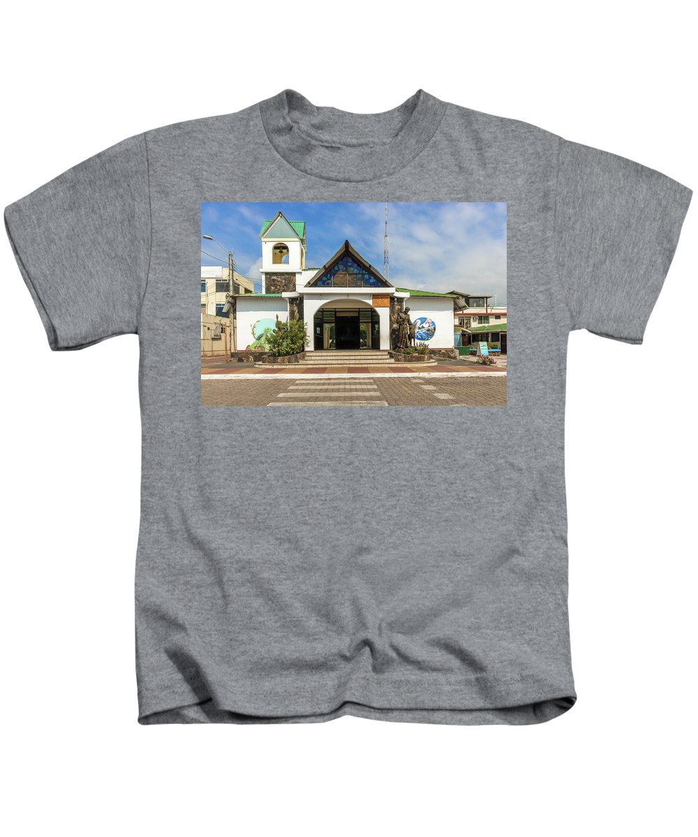 America Kids T-Shirt featuring the photograph Church Parroquia Franciscana Santa Marianita Puerto Ayora Santa by Marek Poplawski