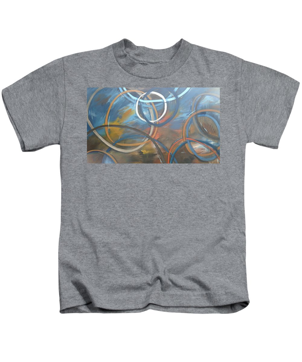 Circles Kids T-Shirt featuring the painting Circles by Travis Day