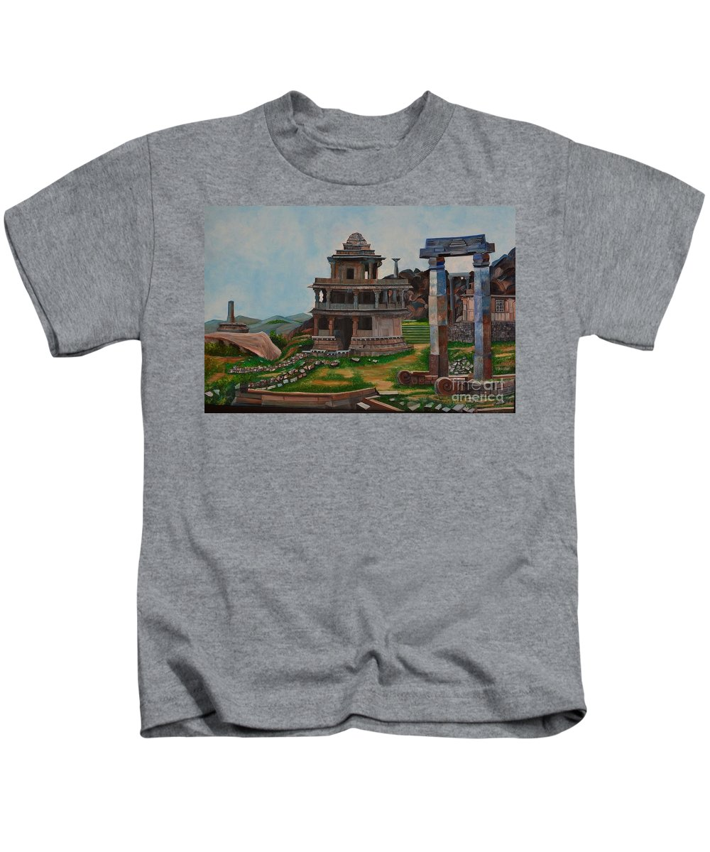 Landscape Kids T-Shirt featuring the painting Cithradurga Fort by Usha Rai