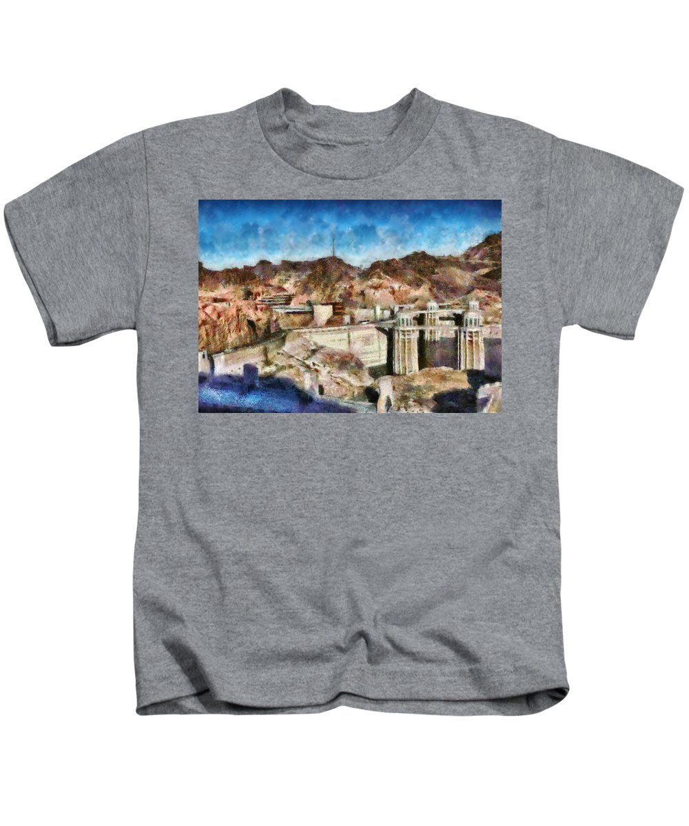 Savad Kids T-Shirt featuring the photograph City - Nevada - Hoover Dam by Mike Savad