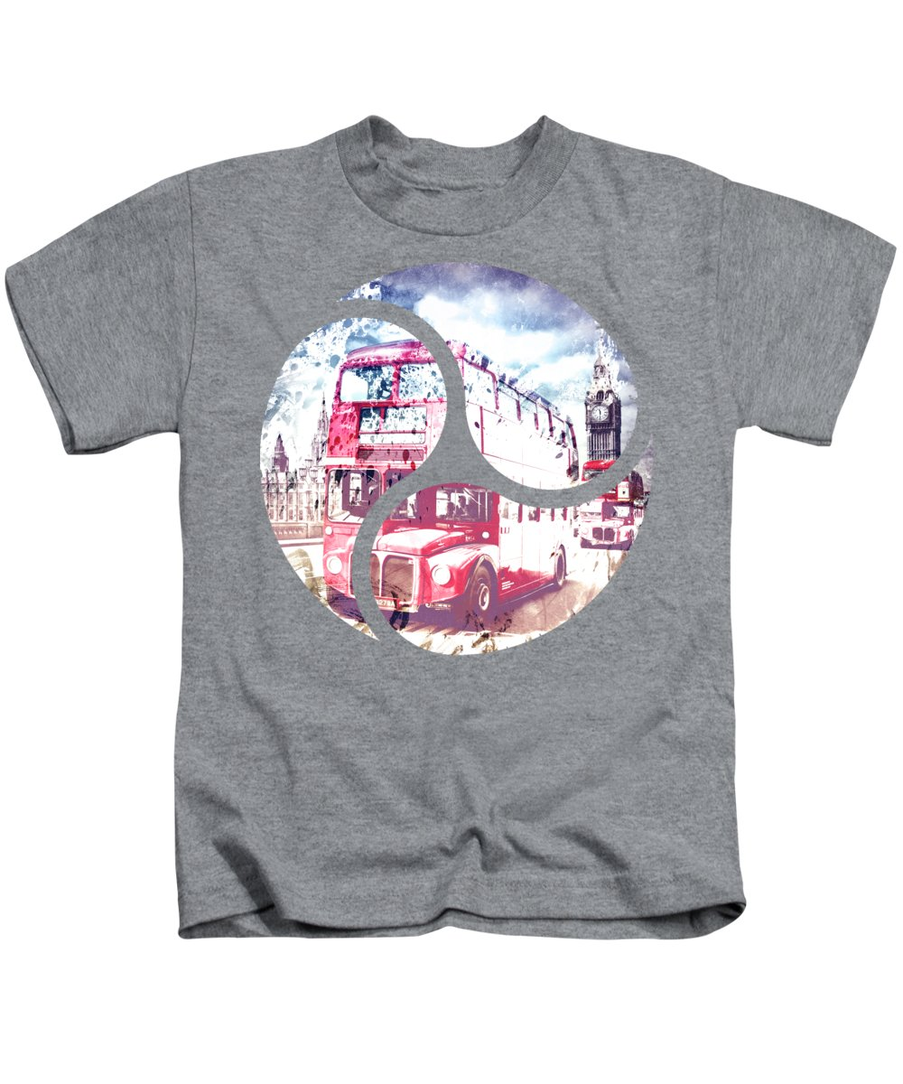 British Kids T-Shirt featuring the photograph City-art London Red Buses On Westminster Bridge by Melanie Viola