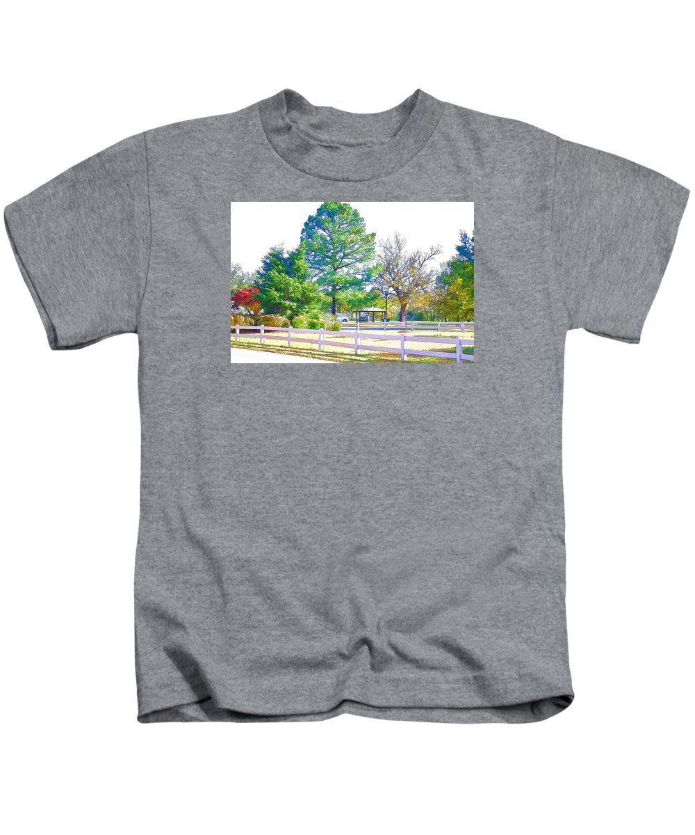 Portsmouth City Park Kids T-Shirt featuring the painting City Park 10 by Jeelan Clark