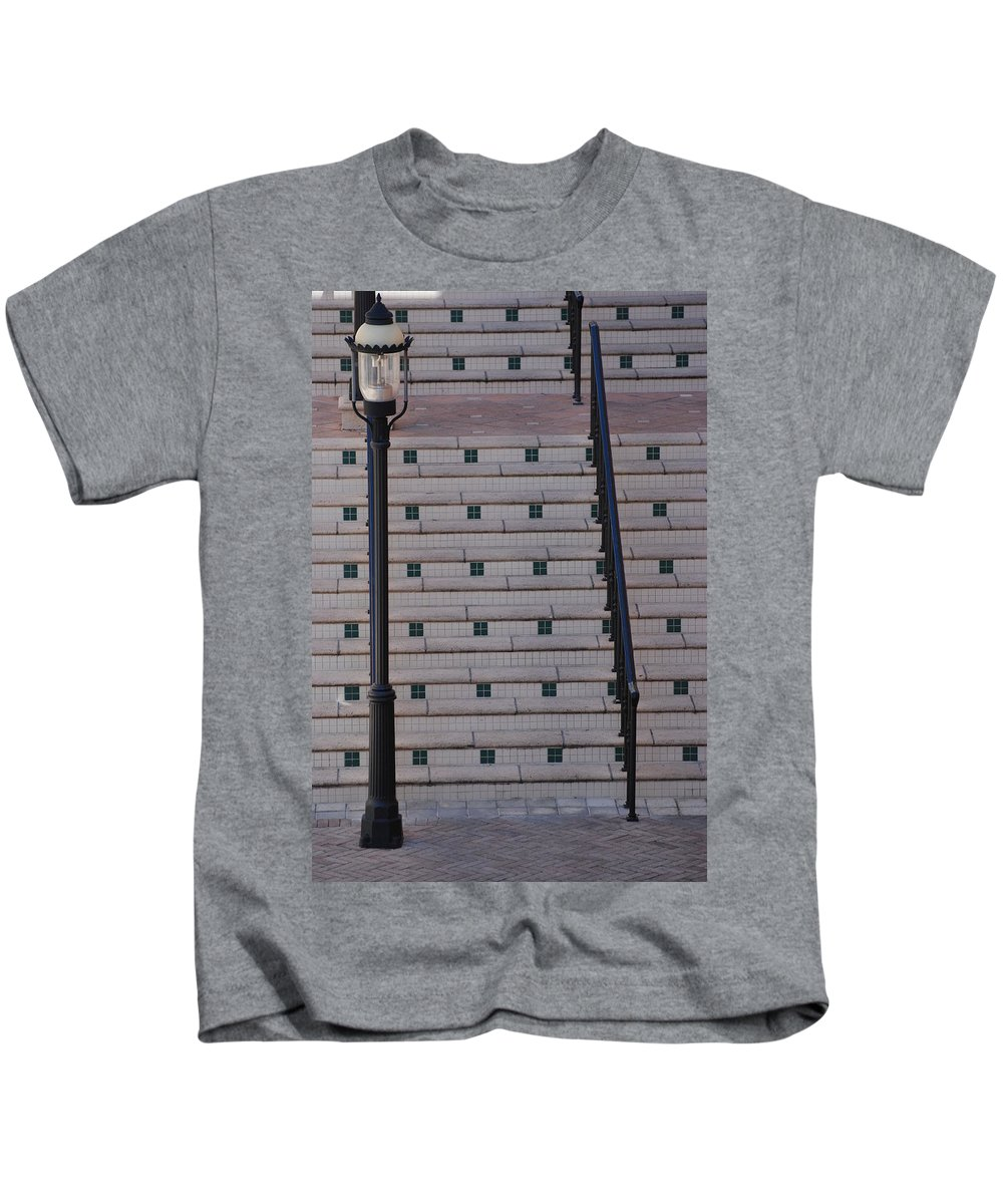 Architecture Kids T-Shirt featuring the photograph City Stairs by Rob Hans