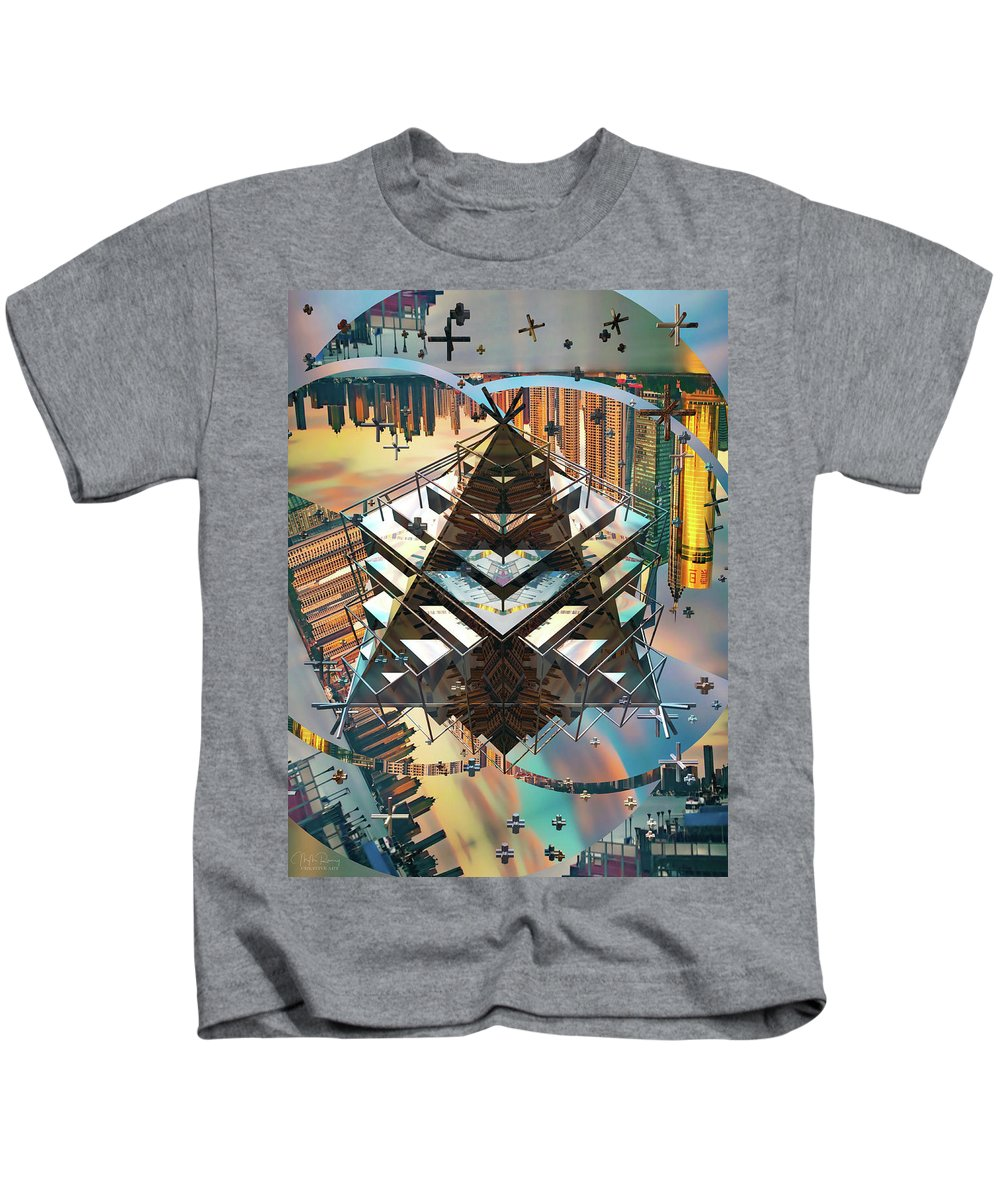 Cityline Kids T-Shirt featuring the digital art Cityline Abstract IIi by M M Rainey
