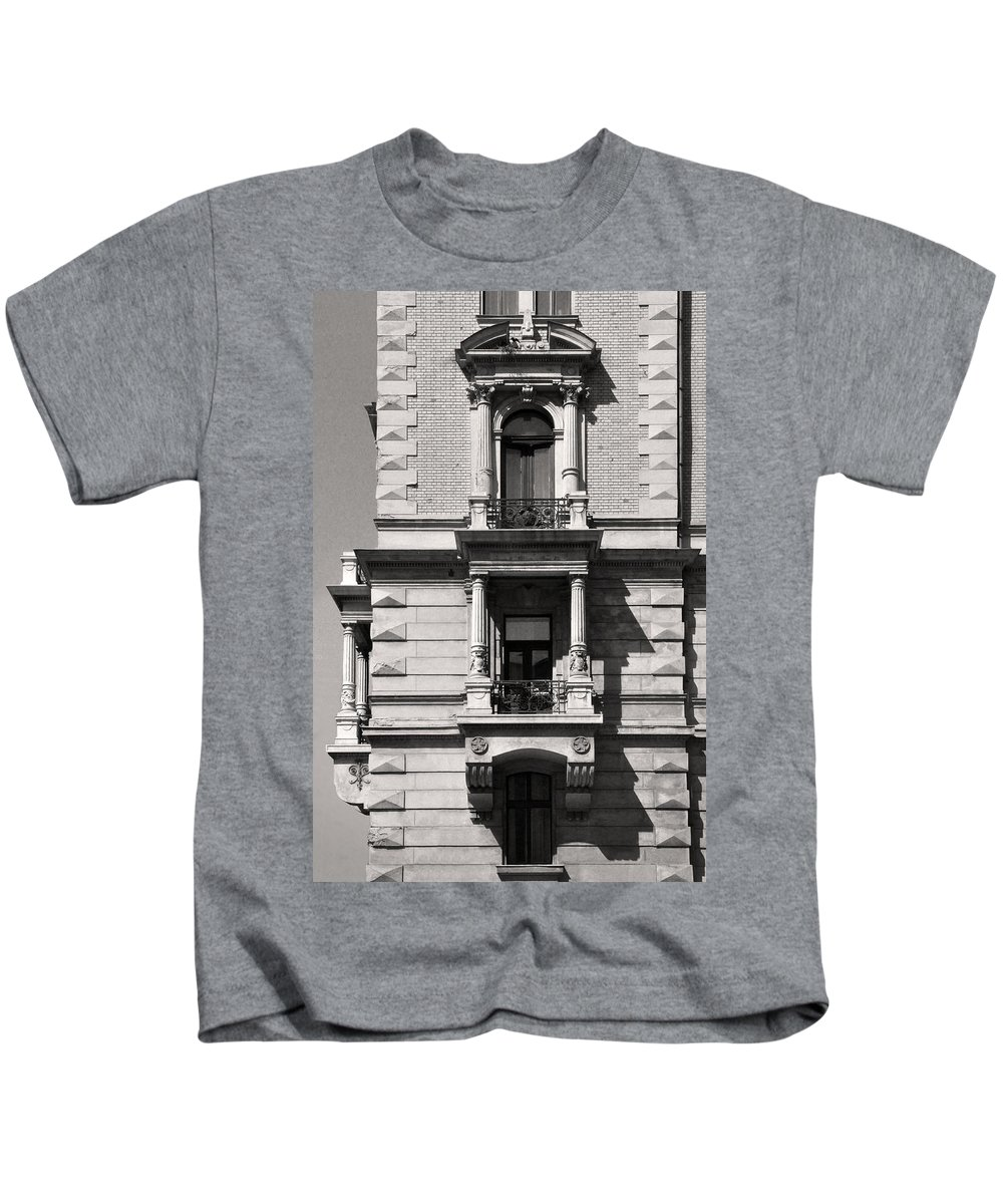 Classical Kids T-Shirt featuring the photograph Classical Balcony Budapest by James Dougherty
