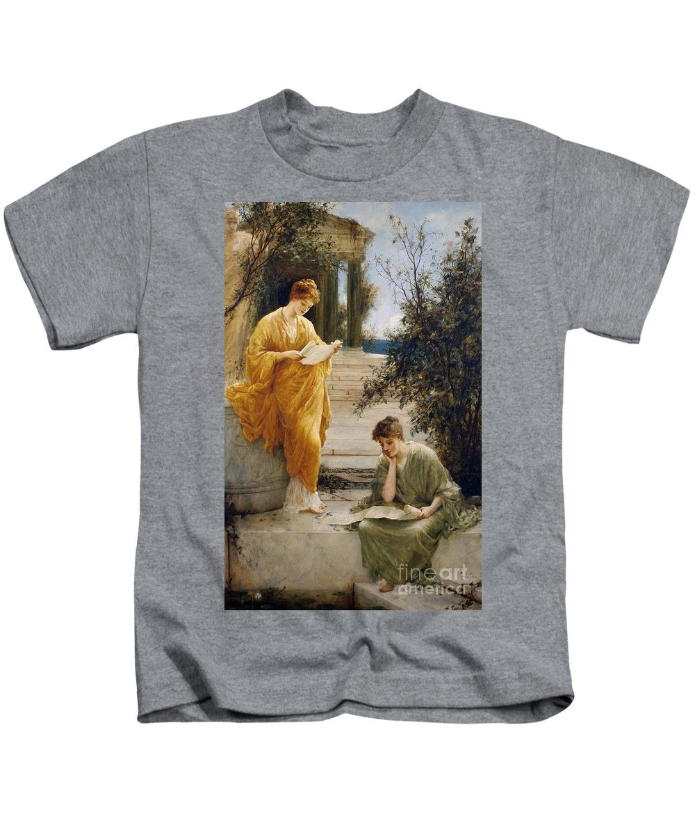 Henry Thomas Schaefer - Classical Women Reading By A Temple Kids T-Shirt featuring the painting Classical Women Reading by MotionAge Designs