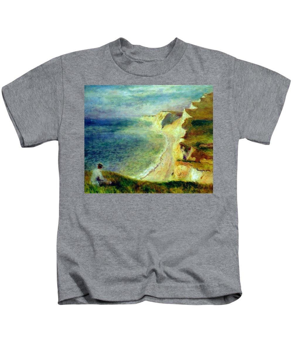 Cliffs Kids T-Shirt featuring the painting Cliffs On The Coast Near Pourville 1879 by Renoir PierreAuguste