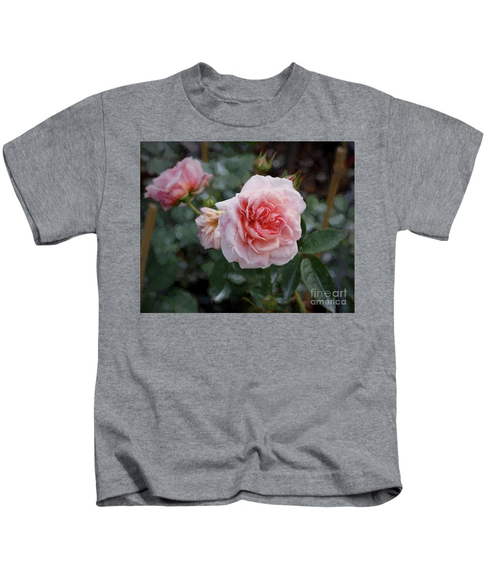 Rose Kids T-Shirt featuring the photograph Climber Romantica Tea Rose, Digital Art by TN Fairey