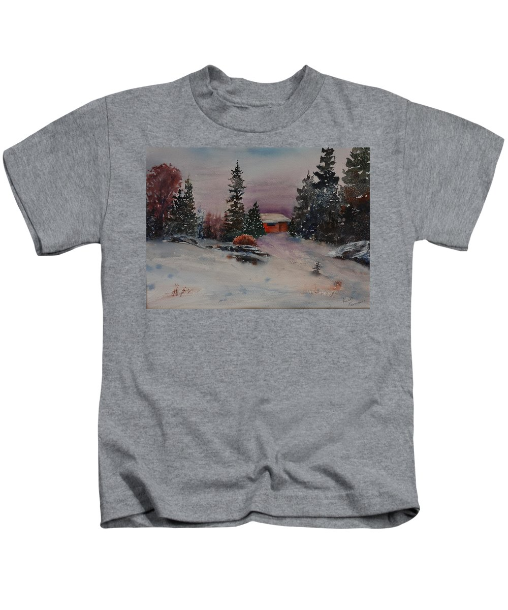 Cottage Kids T-Shirt featuring the painting Closed For The Season by Ruth Kamenev