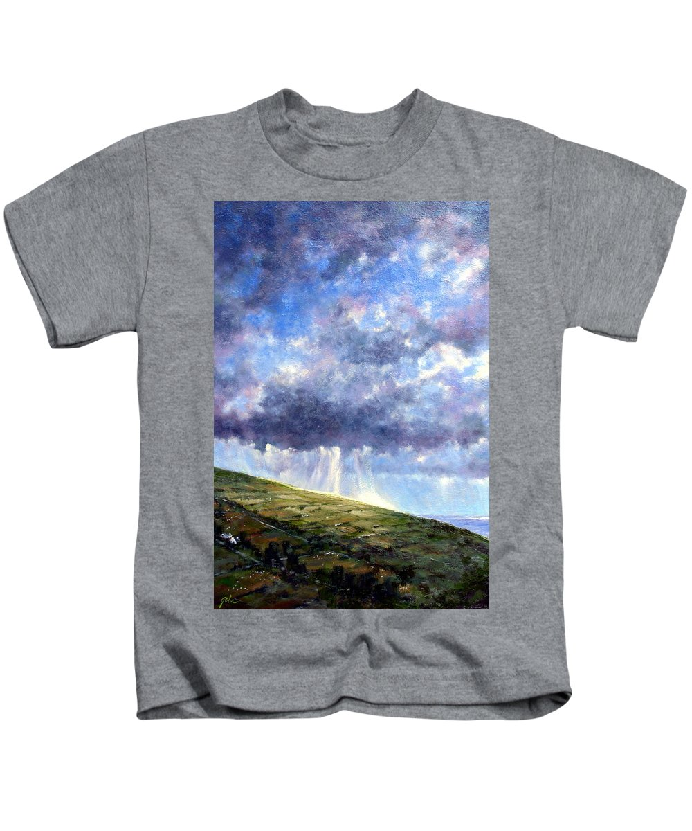 Oil Painting Kids T-Shirt featuring the painting Cloud Burst Ireland by Jim Gola