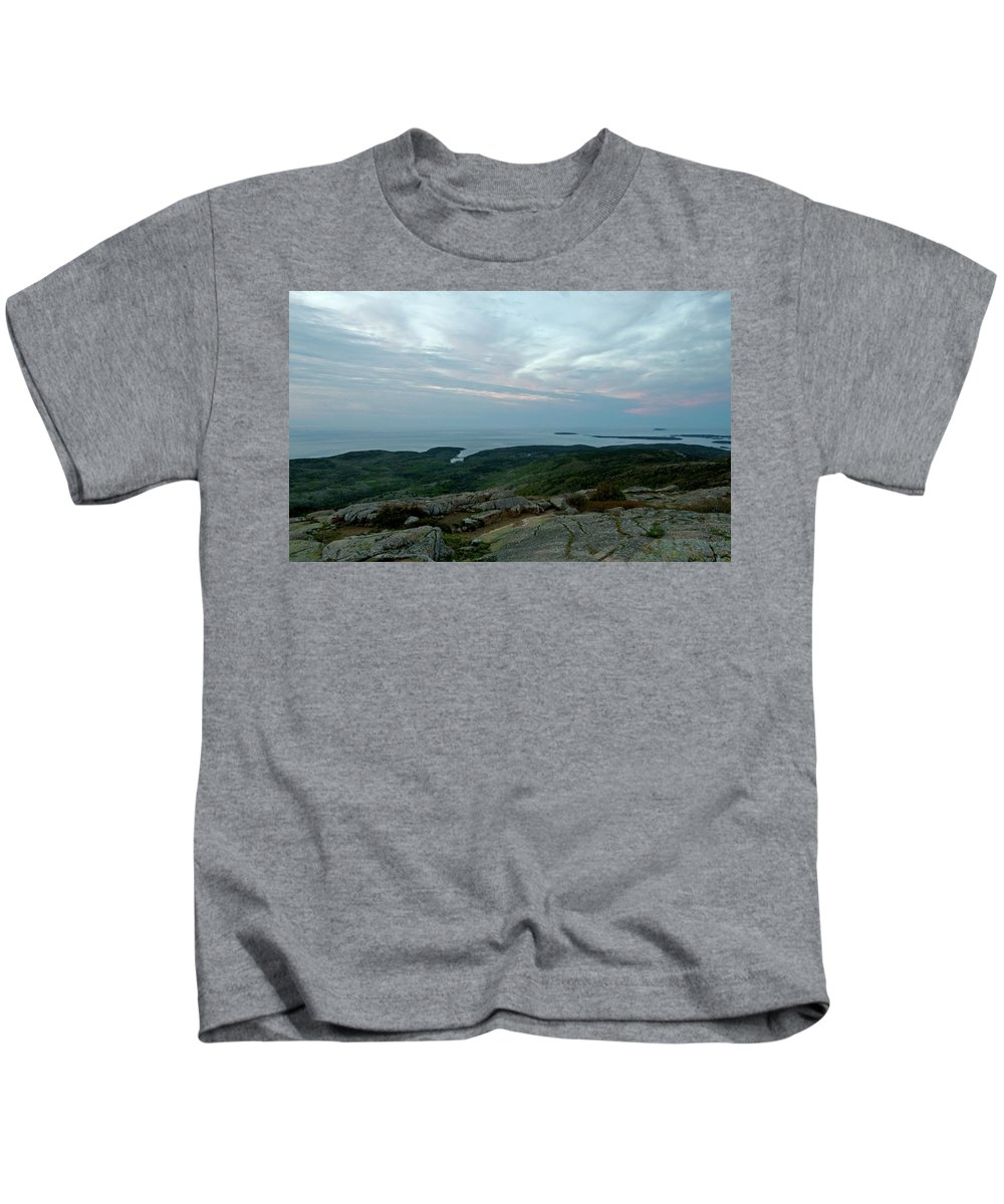 cadillac Mountain Kids T-Shirt featuring the photograph Cloud Covered Sunrise by Paul Mangold
