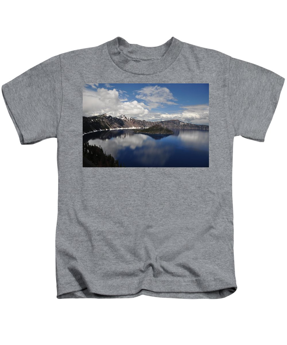 Lake Kids T-Shirt featuring the photograph Cloud Reflections by Terry Anderson
