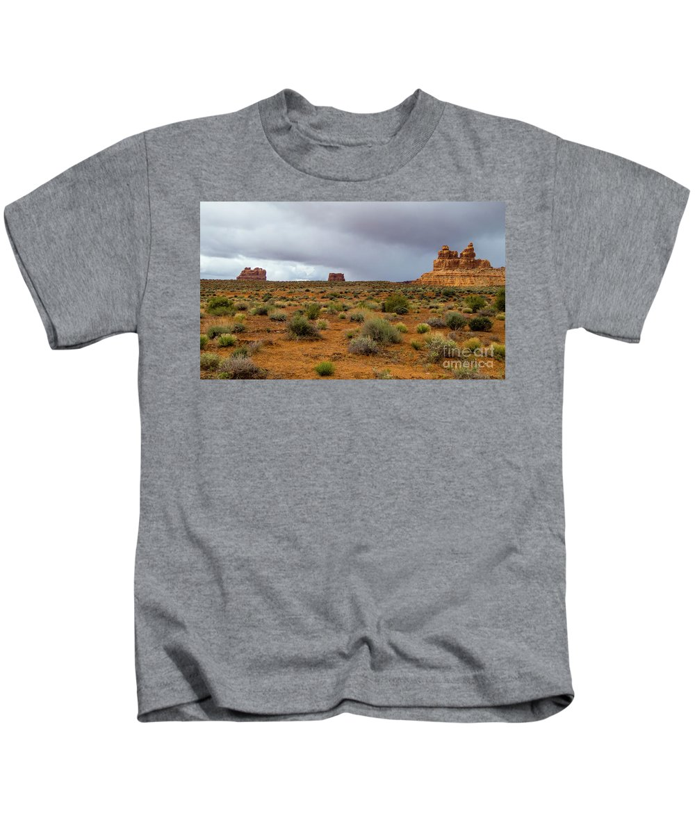 Valley Of The Gods Kids T-Shirt featuring the photograph Clouds Coming by Jerry Sellers