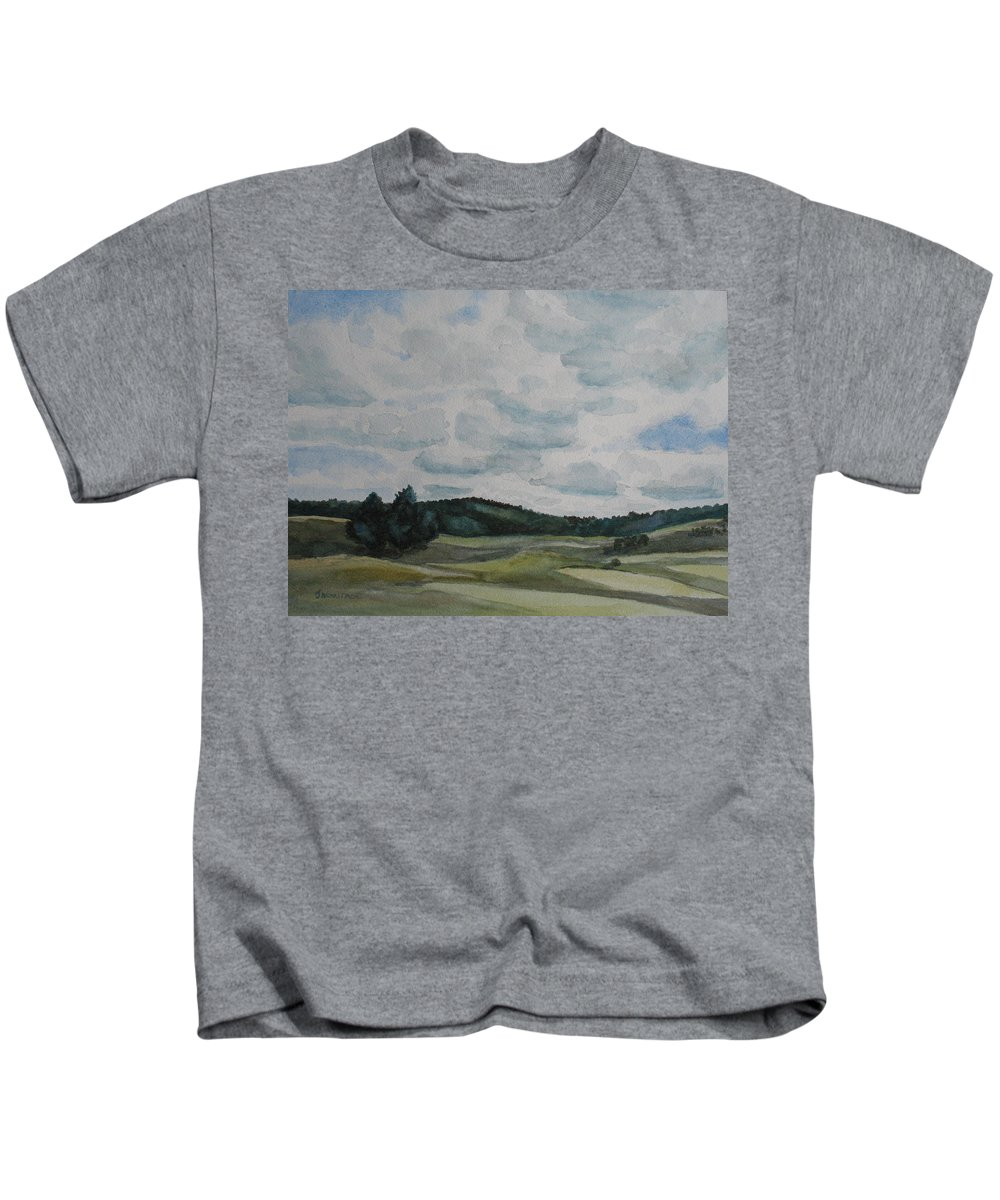 Mountains Kids T-Shirt featuring the painting Clouds Over Boot Hill by Jenny Armitage
