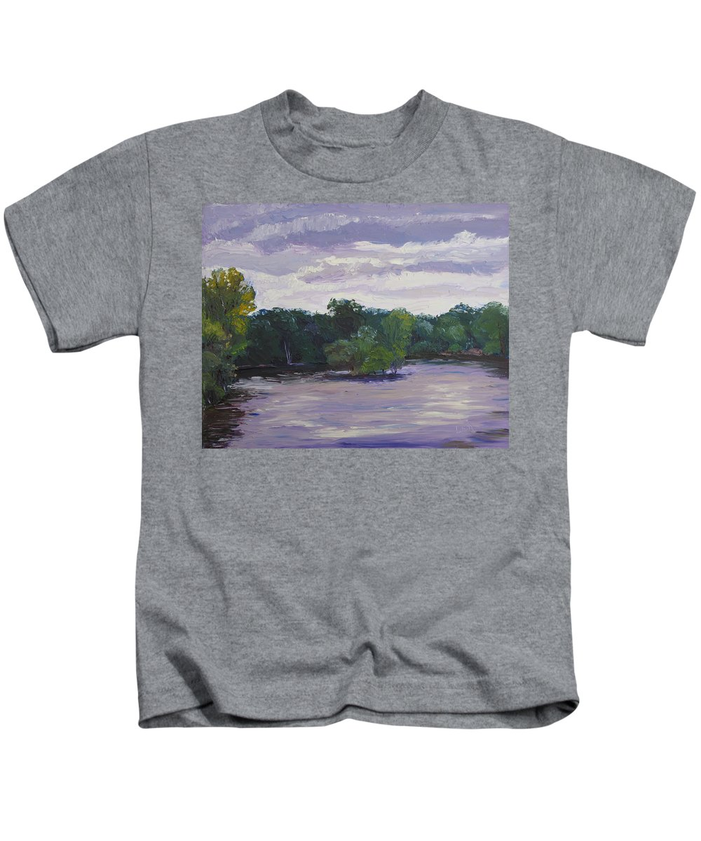 Landscape Kids T-Shirt featuring the painting Clouds Over The Lake by Lea Novak