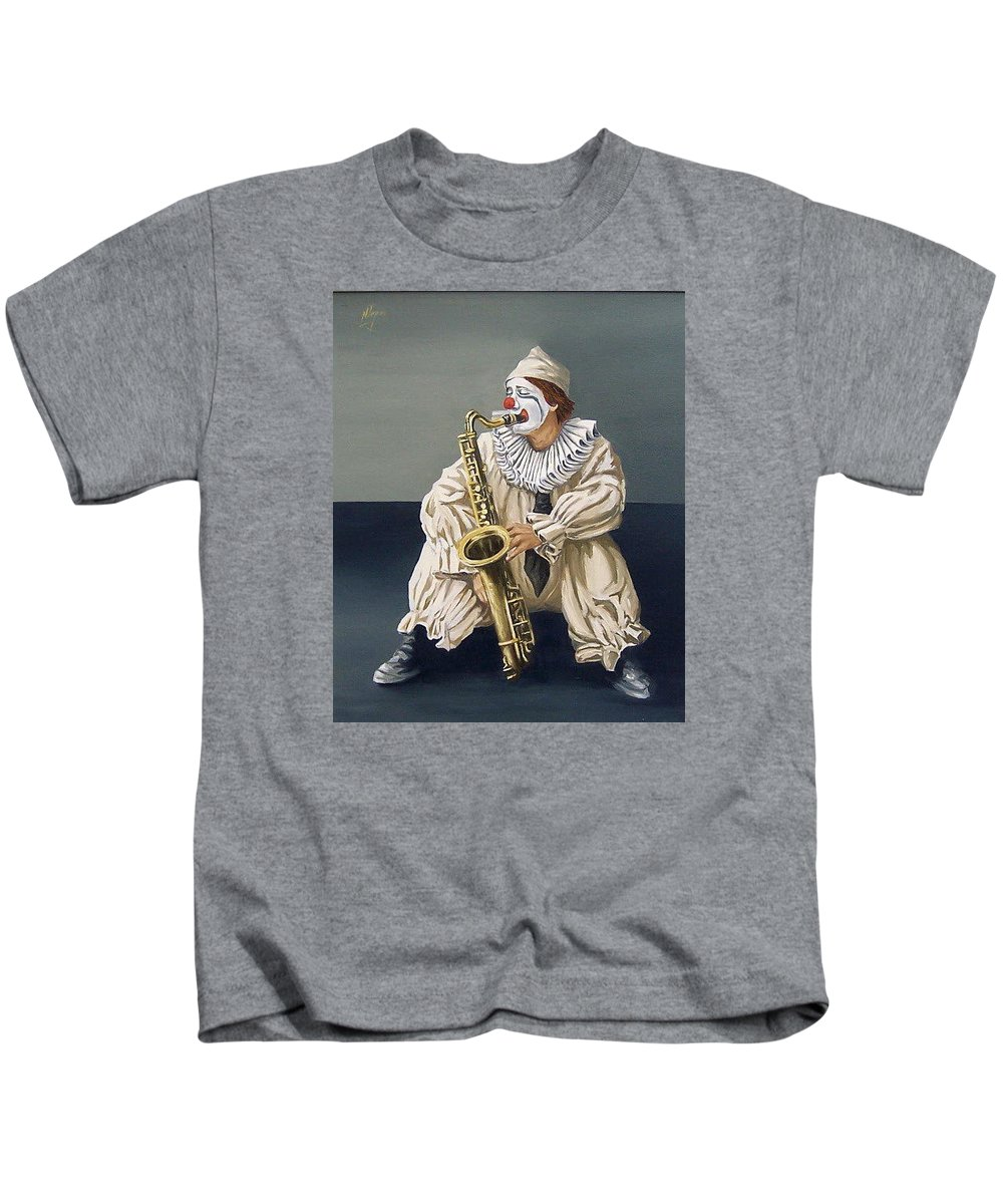Clown Figurative Portrait People Kids T-Shirt featuring the painting Clown by Natalia Tejera