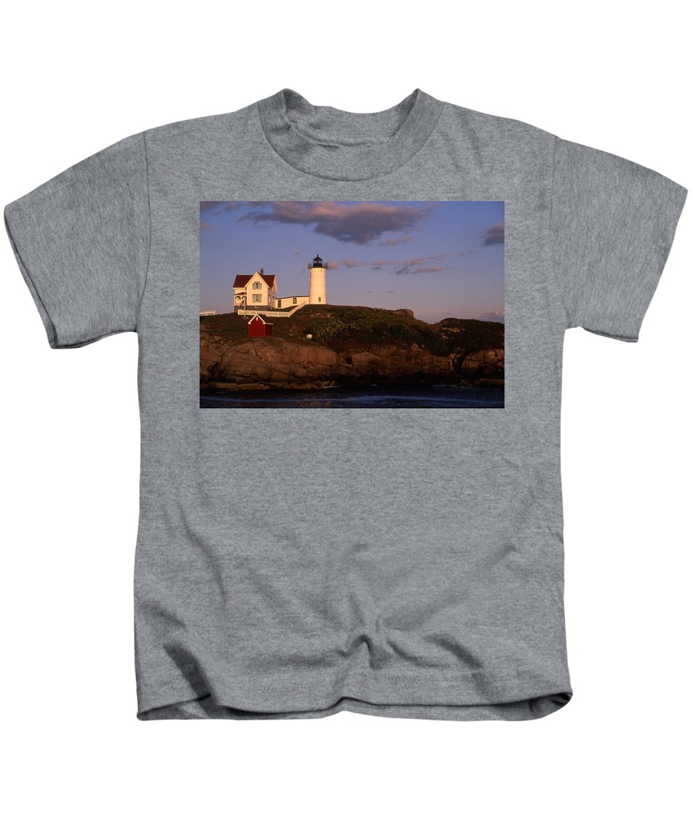 Landscape New England Lighthouse Nautical Coast Kids T-Shirt featuring the photograph Cnrf0908 by Henry Butz