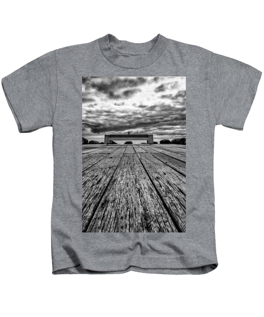 Mono Kids T-Shirt featuring the photograph Coastal Bench by Russ Dixon
