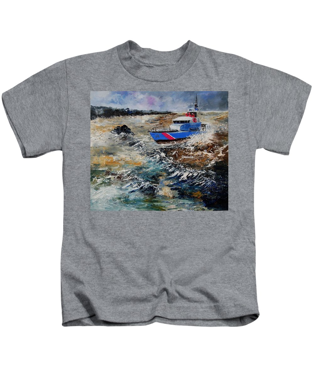 Sea Kids T-Shirt featuring the painting Coastguards by Pol Ledent