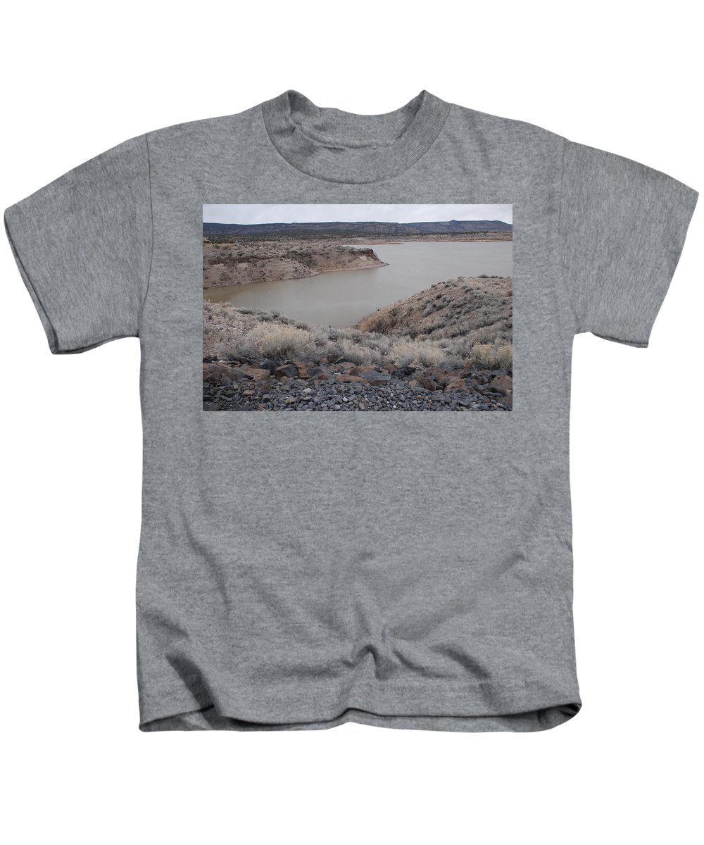 Mountians Kids T-Shirt featuring the photograph Cochiti Lake by Rob Hans