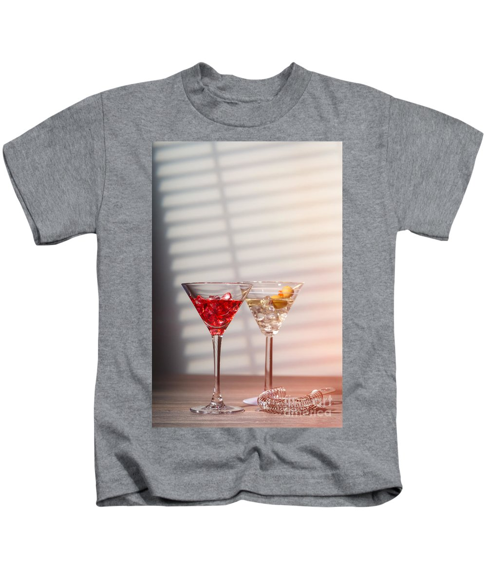 Cocktail Kids T-Shirt featuring the photograph Cocktails With Strainer by Amanda Elwell