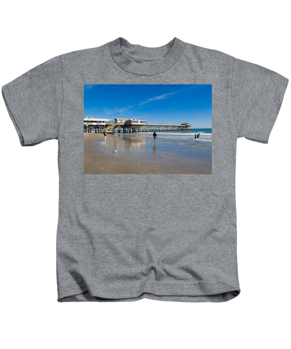 Florida; Cocoa; Beach; Atlantic; Ocean; East; Space; Coast; Brevard; Central; Pier; Surf; Surfing; F Kids T-Shirt featuring the photograph Cocoa Beach Florida by Allan Hughes