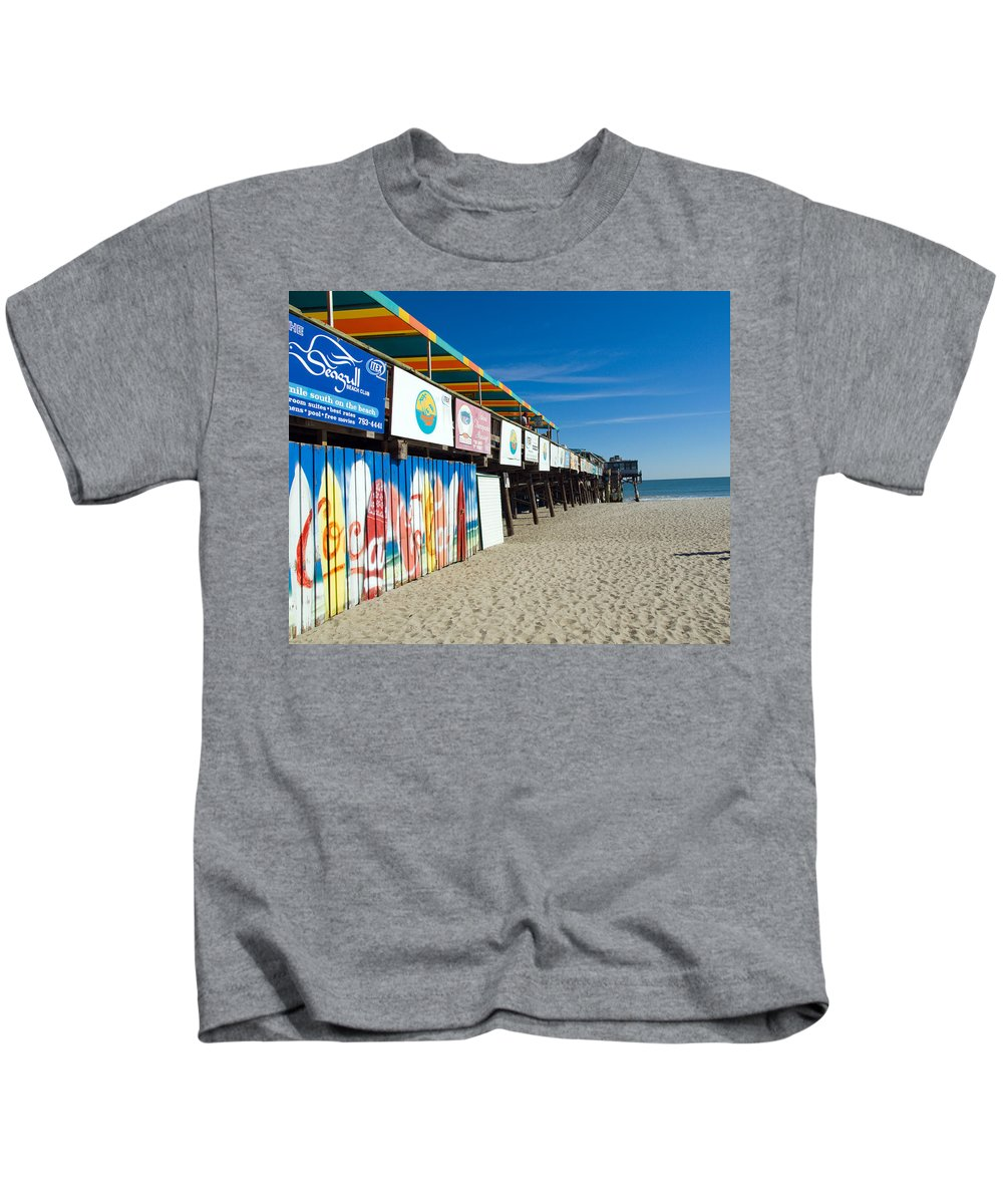 Florida; Cocoa; Beach; Atlantic; Ocean; East; Space; Coast; Brevard; Central; Pier; Surf; Surfing; F Kids T-Shirt featuring the photograph Cocoa Beach Flotida by Allan Hughes