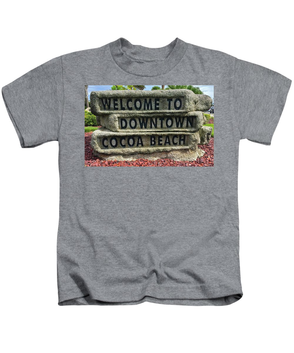 Cocoa Kids T-Shirt featuring the photograph Cocoa Beach Welcome Sign by Denise Mazzocco