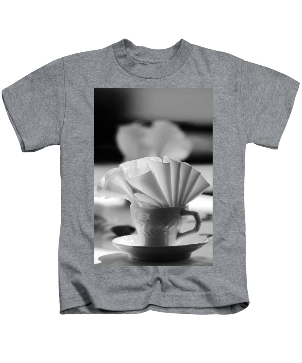 Black And White Kids T-Shirt featuring the photograph Coffee Cup Black And White by Jill Reger