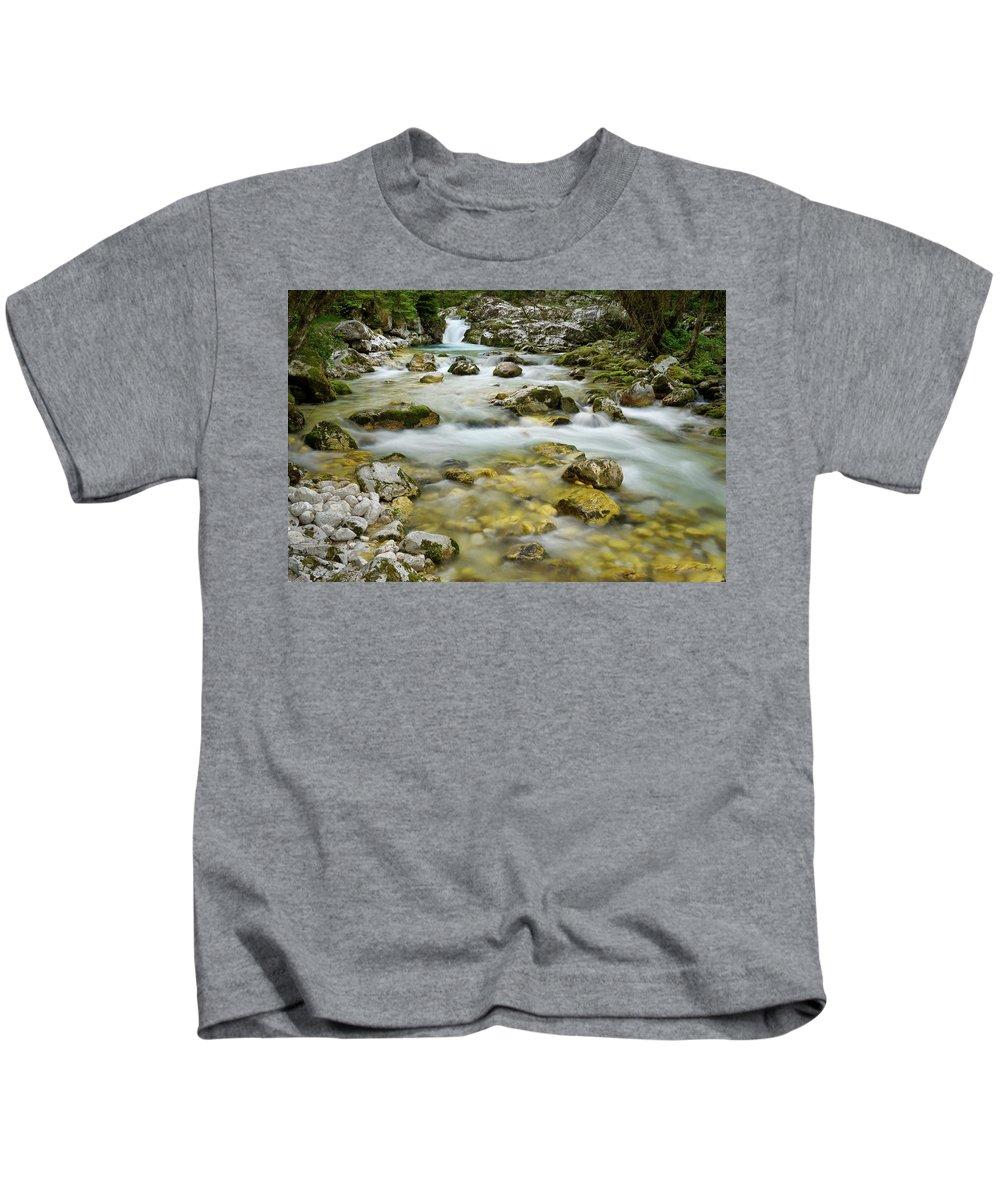 Sunikov Vodni Gaj Kids T-Shirt featuring the photograph Cold Alpine Lepenica River In Spring At Sunikov Vodni Gaj Nature by Reimar Gaertner