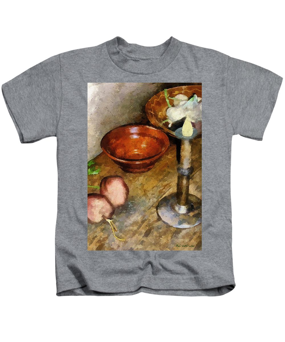 Still Life Kids T-Shirt featuring the painting Cold Comfort Kitchen by RC DeWinter