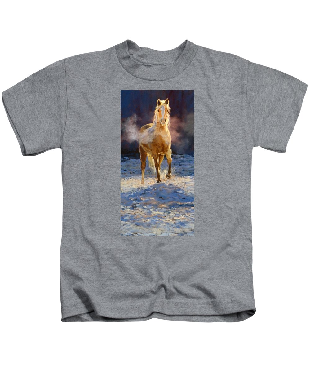 Equine Kids T-Shirt featuring the painting Cold Day For A Warm Welcome by Mary Ann Cherry