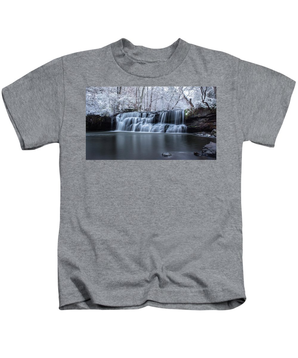 Waterfall Kids T-Shirt featuring the photograph Cold Day by Joe Gilbreath