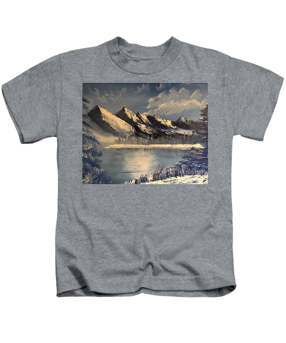 Winter Kids T-Shirt featuring the painting Cold Winter Lake by Sonny Sinay
